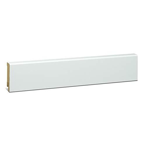 KGM Sockelleiste weiß 58mm | Modern gefast Fussleiste weiss ✓MDF Leiste ✓für PVC Vinyl & Laminat ✓weiße Leisten✓unsichtbare Clip Montage |gerade Sockelleisten 16x58x2500mm
