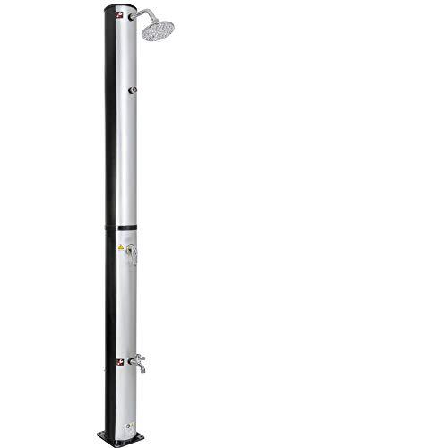 Arebos Solardusche 40 L | Regulierbare Wassertemperatur bis 60° | Mit Fußdusche | Mit Thermometer