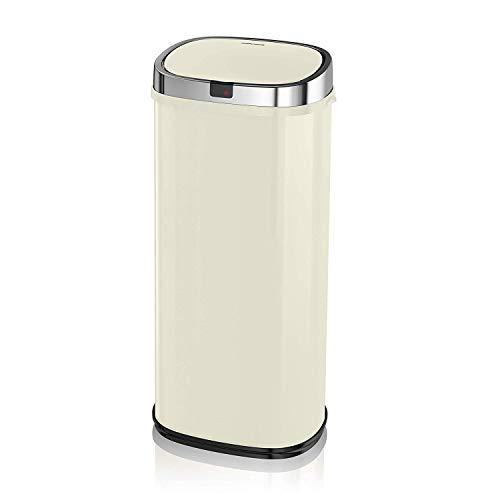 Morphy Richards Quadratischer Sensor-Mülleimer, Metall, cremefarben, 50 L