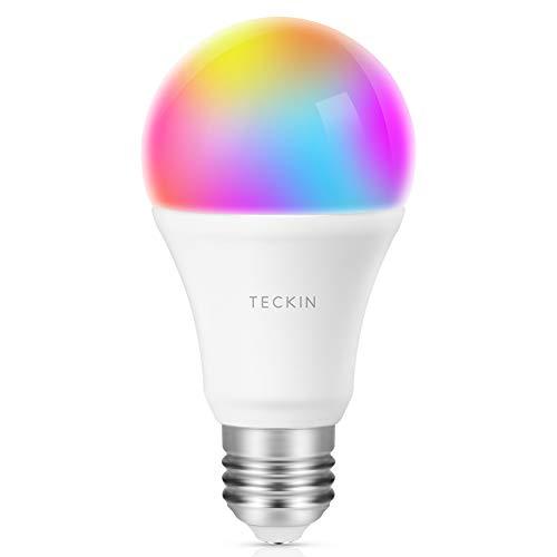 Alexa Smart Glühbirnen, TECKIN RGB E27 WLAN lampe, Led Lampe fuer Alexa Google Home Echo,800 LM, Glühbirne Farbwechsel,mit App Steuern,Dimmbar,Kein Hub Erforderlich Smart Birne Glühbirne 1er pack