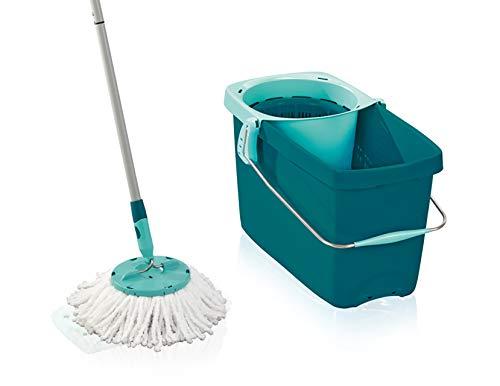 Leifheit Set Clean Twist Disc Mop, Wischer für nebelfeuchte Reinigung, Wischmopp mit effizienter Schleudertechnologie, Bodenwischer mit Mikrofaser Bezug für Fliesen und Laminat, Stiel mit Click-System