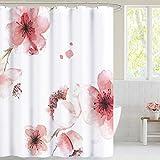 NICETOWN Duschvorhang Polyester Stoff Badewanne Vorhang mit Rosa Blumen Druckmuster Wasserdichter Duschvorhang 180x180 cm mit 12 Haken