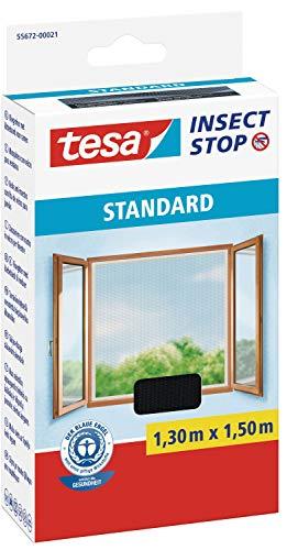 tesa 55672-00021-02 Fliegengitter für Fenster, Standard Qualität, anthrazit, durchsichtig, 1,3m x 1,5m, Kaltstart