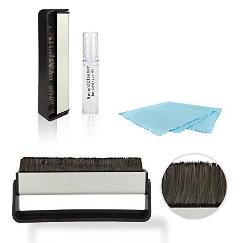 BIKO Schallplatten-Reinigungsset 3in1 - schonende Schallplattenpflege für Vinyl-Liebhaber (Schallplattenbürste, Mikrofasertuch, Cleaning Spray)