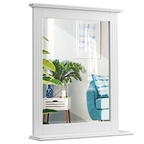 COSTWAY Badezimmerspiegel mit Ablage, Badspiegel Rechteckig, Wandspiegel, Hängespigel Weiß, Spiegel Badezimmer
