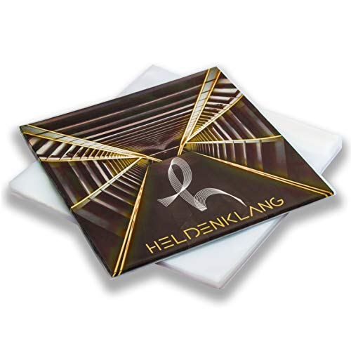Heldenklang® 12' Schallplatten Hüllen - SLIM - 80 μm LP-Schutzhüllen - Sehr transparent, hergestellt in Deutschland - 50 Stück