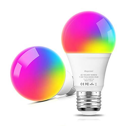 Smart Led Lampe E27 Doppelpack, Wifi Glühbirne Mehrfarbige Dimmbare Lampe, Aoycocr Alexa Glühbirnen, A60, 6500 Kelvin, 750 Lumen, Ersetzt 70 W, Wifi Bulb Funktioniert mit Alexa Google Home
