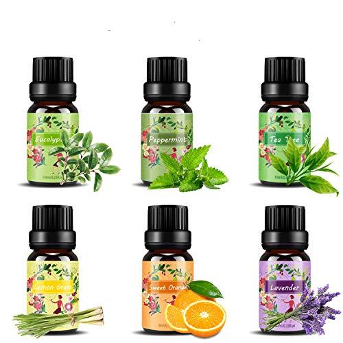 Ätherische Öle Set,6 x 10 ml Aromatherapie Duftöl 100% Pure Ätherische Öle Geschenk für Diffuser- Orange, Lavendel, Teebaum, Zitrone, Eukalyptus und Pfefferminze