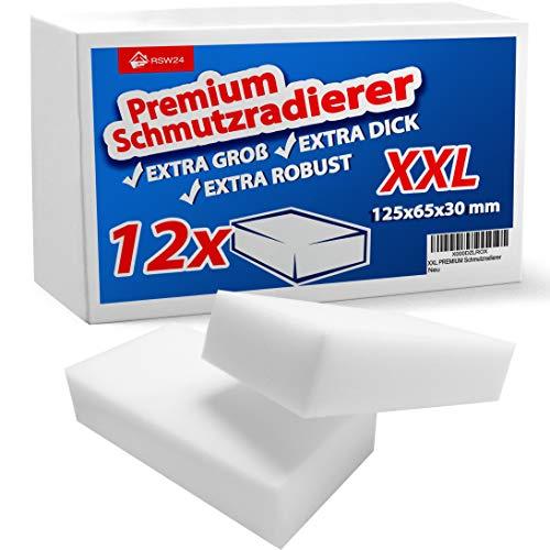 RSW24® 12 Stück Schmutzradierer PREMIUM XXL EXTRA Groß - 125x65x30mm - Schmutz mit dem Wunderschwamm wegradieren, der ideale Reinigungsschwamm