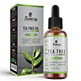 Kanzy Teebaumöl Bio 60ml Essential Tea Tree Oil zum Aromatherapie für Gesicht, Haar, Hautpflege, Körper Kaltgepresst