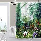 Artscope Duschvorhänge, Duschvorhang Anti-Schimmel, Badvorhang Wasserdicht Antibakteriell Duschvorhang aus Polyester Badezimmer Vorhänge mit 12 Duschvorhangringen, 180x180 cm (Regenwald)