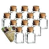 gouveo 12er Set Gewürzgläser 'Quadrat 150' incl. Flaschendiscount-Rezeptbroschüre, Ideal für Gastgeschenke, Korkengläser, Glasdose, Aufbewahrungsglas, Korkenglas eckig