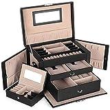 SONGMICS Schmuckkasten, Schmuckkästchen mit 2 Schubladen, abschließbarer Schmuck-Organizer mit Spiegel, herausnehmbare Reise-Box, für Ringe, Armbänder, Ohrringe, Samtfutter, schwarz JBC121B