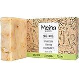 Meina Naturkosmetik - Naturseife, Bio Seife mit Zitronengras und Kurkuma ohne Palmöl, Vegan, Nachhaltig, Handgemacht, Wie ein festes Duschgel - 100g