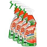 Bref Power gegen Fett und Eingebranntes, Reiniger und Fettlöser, Sprühflasche, für Küche, Kamin und Ofen, 4 x 750 ml