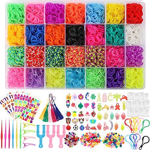 BAKHK 12000 Loom Bnder Mega Nachfll Set in Regenbogenfarb fr Armband 28 Farben Gummibnder Loom Bands Basteln Starter Set mit Webrahmen, Perlen, Clips, Haken usw